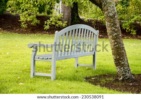 Park bench on a misty morning next to a tree - stock photo