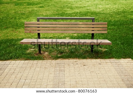 Park bench on the lawn.