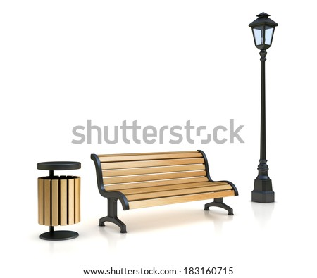 park bench, street lamp and trash can - stock photo