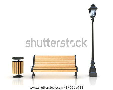 park bench, street lamp and trash can 3d illustration - stock photo