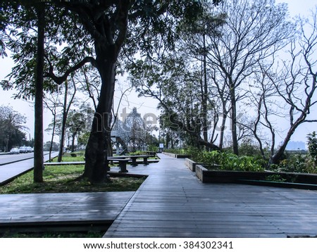 Park Benches and Boardwalk