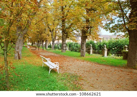 Park by the Dobris castle, Czech republic - stock photo
