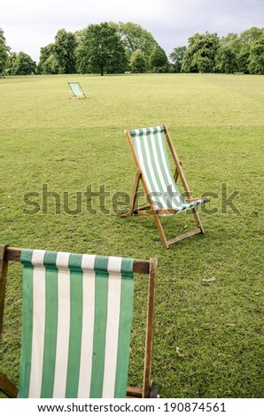 park chairs and lawn