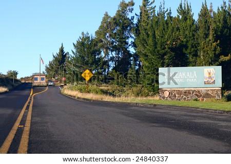 Park entrance to Haleakala National Park. Maui, Hawaii. - stock photo
