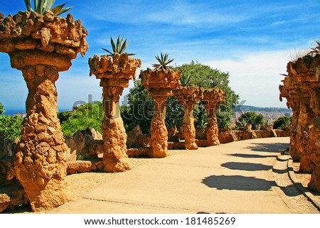 Park Guell. - stock photo