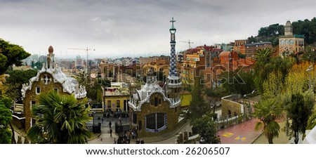 Park Guell by Antoni Gaudi architect - stock photo