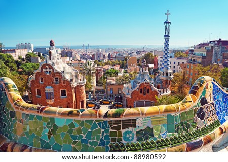 Park Guell in Barcelona. - stock photo