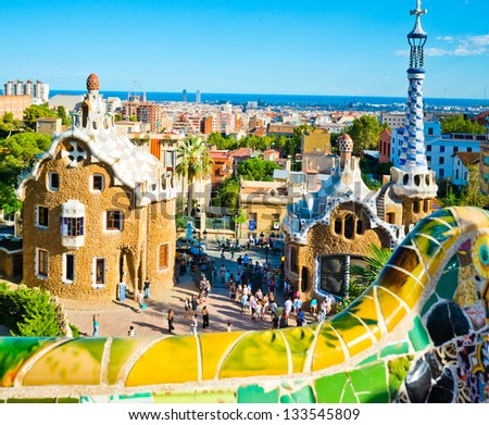 Park Guell in Barcelona, Spain. It was built in 1900-1914.