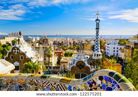 Park Guell in Barcelona, Spain on a sunny day - stock photo