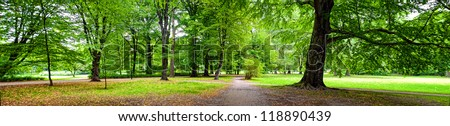 Park in autumn time - panoramic view - stock photo
