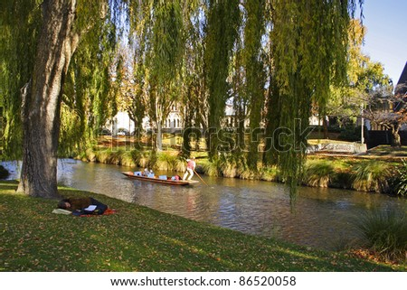 Park in Christchurch city on the South island of New Zealand - stock photo
