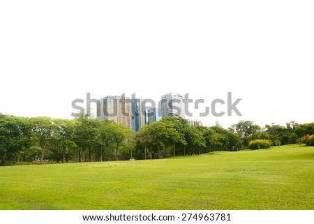 park in city, Bangkok, Thailand on white background - stock photo
