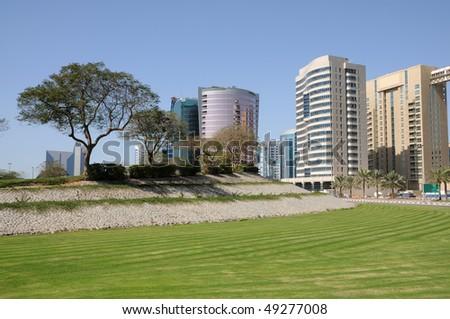 Park in Dubai Deira, United Arab Emirates - stock photo