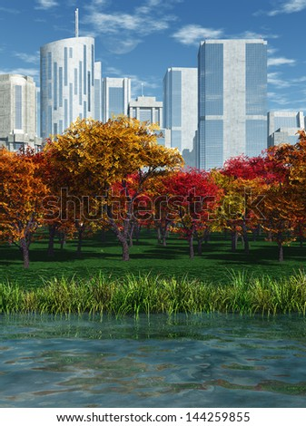 Park in Fall - stock photo