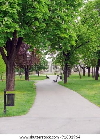 Park in Kalemegdan fortress - Belgrade, Serbia - stock photo