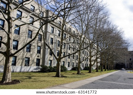 Park in one of the campuses in Cambridge city in Massachusets - stock photo