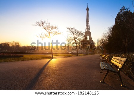 park in Paris near Eiffel tower early morning, France - stock photo