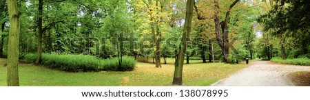 Park in spring time - panoramic view - stock photo