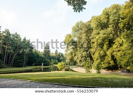 Park in summer with pond, lake and alley. Tree, green grass, spring lawn. Nature outdoor landscape with sunny bright blue sky, beautifull garden or forest and meadow, sun.