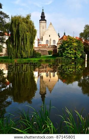 Park in Telc town, Czech Republic - stock photo
