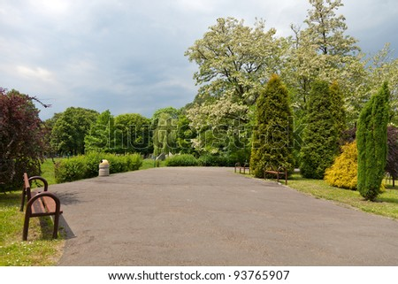 Park in the city in spring - stock photo
