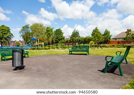 Park in the city,yorkshire,uk - stock photo