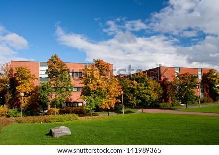 Park in University campus in Jyvaskyla, Finland - stock photo