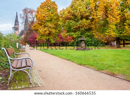 Park in Vysegrad, area in Prague  - stock photo