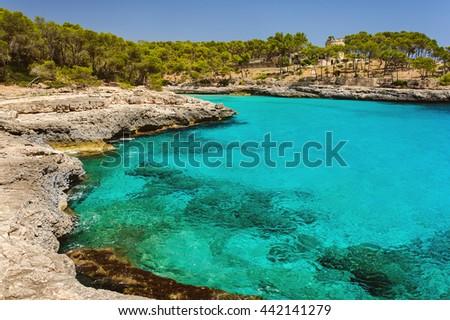 Park Natural Mondrago. Mallorca  Cala Mondrago - stock photo
