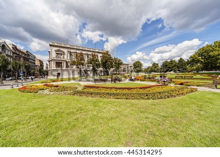 Park near the Government palace in downtown, capital of Serbia