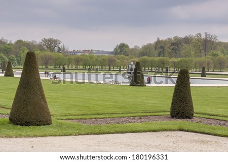 Park next to Royal hunting castle in Fontainebleau - France. - stock photo