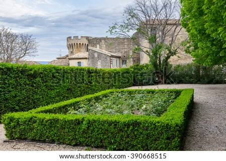 "Park of medieval village of GORDES, which is included in list of ""The most beautiful villages of France"""