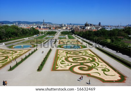 Park of summer palace Belvedere in Vienna - stock photo