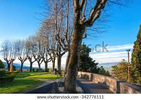 Park on a hill in Assisi - stock photo
