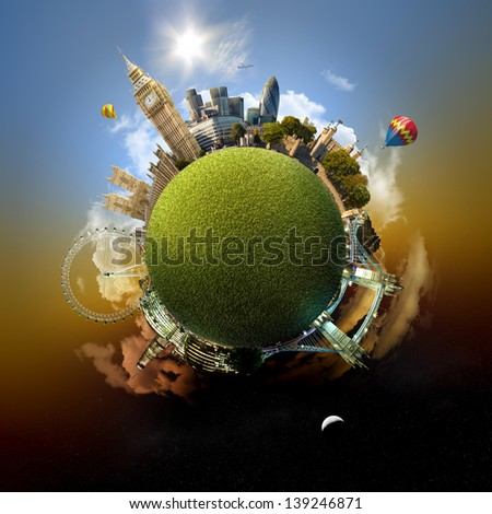 Park planet of London - Miniature planet of London, UK, with all important buildings and attractions of the city - grassy park globe - stock photo