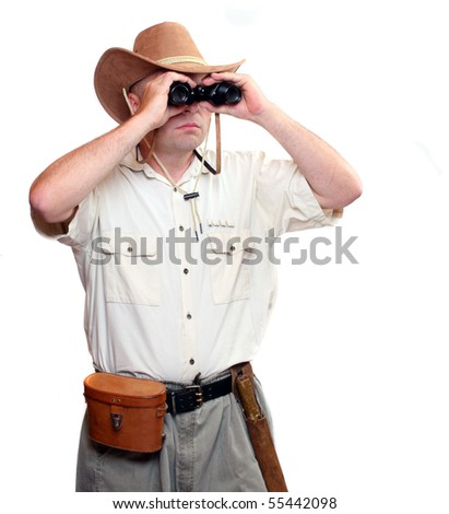 Park ranger watching closely wildlife with his binoculars.  Studio shot isolated on white background - stock photo