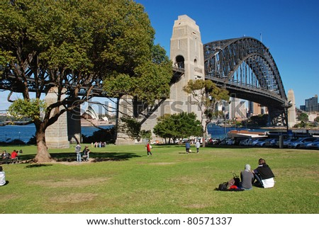 Park under the Harbor bridge, Sydney, Australia - stock photo