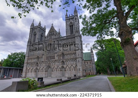 Park view for Nidaros cathedral in Trondheim - stock photo