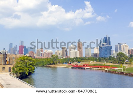 Park with Chicago Downtown Background - stock photo