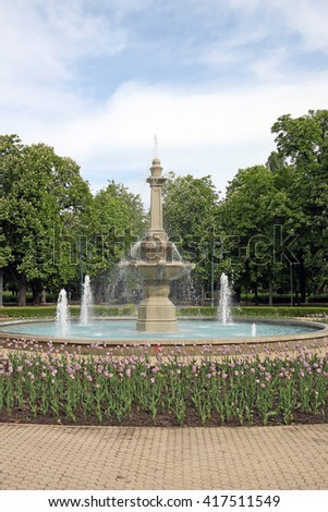 park with fountain Eger Hungary