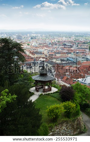 Park with pavilion on a top of hill with a view of Graz, Austria - stock photo