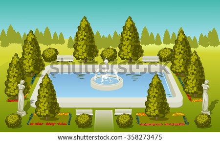park with statues and rectangular fountain - stock photo