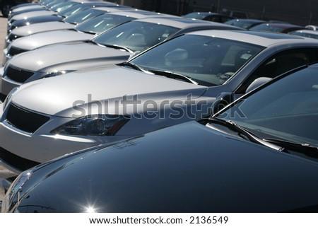 parked automobiles - stock photo