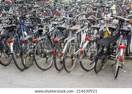 Parked Bikes as Symbol of Healthy Lifestyle - stock photo
