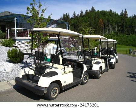 Parked golfing carts