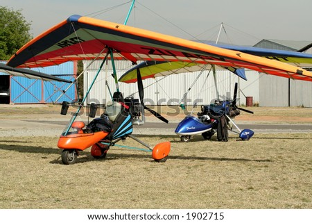 Parked microlight - stock photo