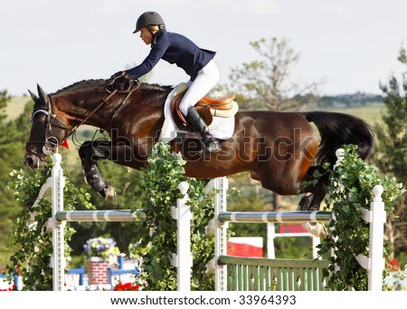 PARKER, CO - JULY 18: Successful Canadian rider Karen Cudmore pilots Southern Pride to a top-ten finish in the $50,000 Grand Prix of Denver at the Colorado Horse Park on July 18, 2009 in Parker, CO. - stock photo