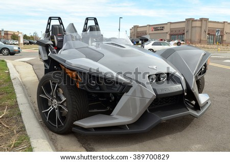 PARKER, COLORADO - MARCH 12, 2016: Polaris Slingshot, a three-wheeled motor vehicle
