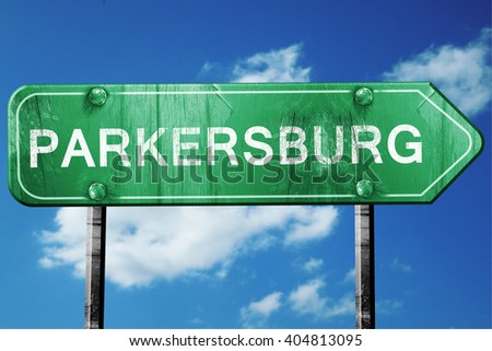 parkersburg road sign , worn and damaged look