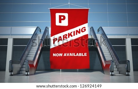 Parking advertising flag and modern moving escalator stairs - stock photo